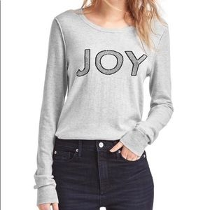 "NWT GAP Gray Pullover ""JOY"" Sweater XS"